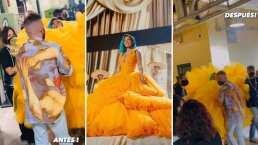 A Karol G la tuvieron que sacar cargando por su enorme vestidazo en Premios Juventud