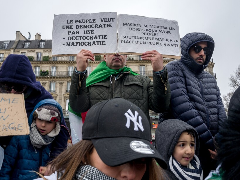 Algerians In France Protest Against Ageing Boutiflika's Bid For Fifth Presidential Term
