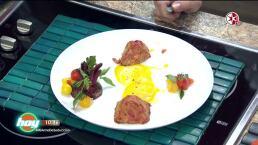 Mini pasteles de pollo y amaranto con mayonesa de zanahoria