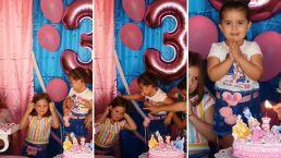 Una niña le sopla a la vela de cumpleaños de su hermanita y se gana un jalón de pelo