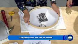 Diseña esta increíble lámpara con un aro de bordar