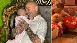Sharon Fonseca capta gracioso momento entre Blu y Gianluca; ella termina escupiéndole a su papá