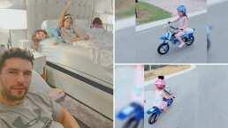 Hijas de Jacky Bracamontes aprenden a andar en moto