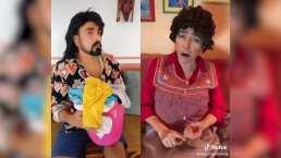 """'Doña Lucha' le lanza divertido reclamo a 'Albertano' en TikTok: """"Nada más te vienen a ver cuando se les juntó la ropa"""""""