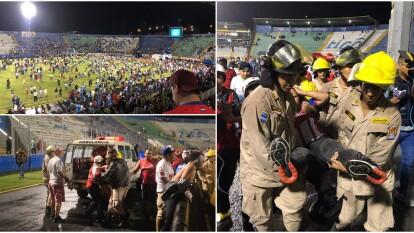 Estas son algunas escenas lamentables tras un episodio terrorífico en el fútbol hondureño.