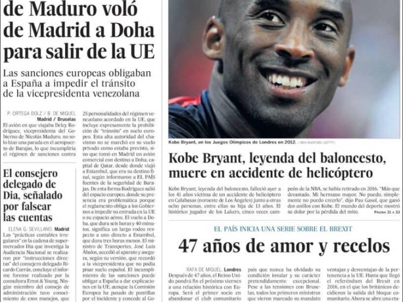Kobe Bryant, periódico, EL PAIS.jpg