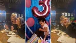 Erika Buenfil recrea la pelea de las hermanas del pastel y le hace 'jalón de greñas' a una amiga