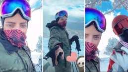 Aislinn Derbez presenta a la persona especial que la acompañó a esquiar en la nieve