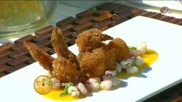 Cocina: Camarónes con costra de chicharrón