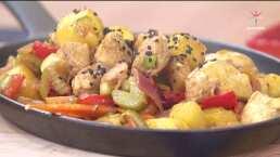 RECETA: Pollo salteado con piña y vegetales