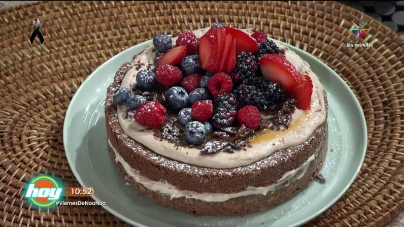 Pastel con doble chocolate y plátano