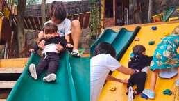 Sherlyn muestra que André ya es todo un niño grande y juega con sus primos
