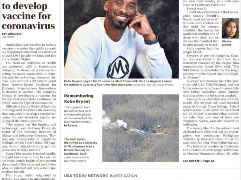 Kobe Bryant, periódico, USA TODAY.jpg