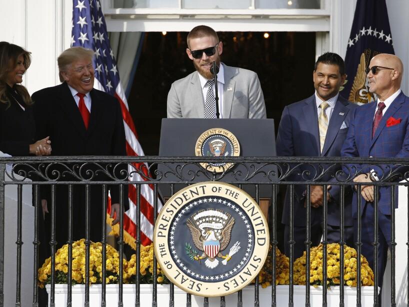 Dave Martinez, Donald Trump, Melania Trump, Mike Rizzo