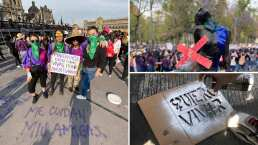 Pintura, himnos y paliacates: Estas fueron las formas de protesta más destacadas en la marcha del 8 de marzo