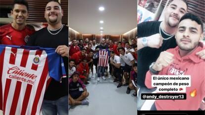 El campeon mundial de boxeo mexicano visitó a las Chivas en su vestuario previo a su encuentro frente al Pachuca.