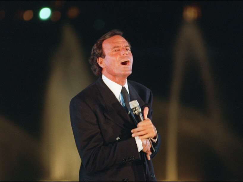 Spanish singer Julio Iglesias performs a song at t