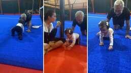 Gianluca Vacchi detiene su partido de pádel para gatear junto a su bebita Blu