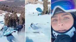 Aislinn Derbez sufre aparatoso accidente mientras esquiaba y Vadhir Derbez se lleva tremendo susto