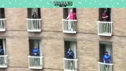 El equipo de rugby de Fiyi canta desde los balcones