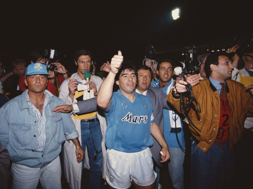 Diego Maradona Napoli v Stuttgart UEFA Cup Final 2nd Leg 1989