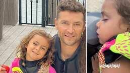 El tierno video de Reni, hija de Jacky Bracamontes, quedándose dormida mientras pasea con su papá