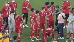 Lewandowski se 'hace el guapo' y niega la mano a Nahuel Guzmán