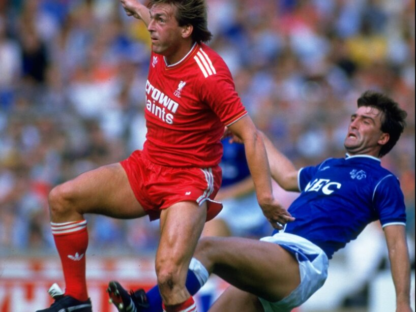 Kenny Dalglish of Liverpool and Kevin Ratcliffe of Everton.