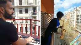 Este es el video de dos músicos en España que salieron a tocar a sus balcones 'My Heart Will Go On' de Titanic