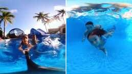 Video: Renny, hija de Jacky Bracamontes, sorprende al nadar como toda una sirenita