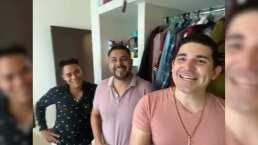 Jorge Lizárraga y Lenny, de La Explosiva Banda de Maza, bañan a uno de sus compañeros en divertido TikTok