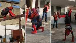 Imitador de Spider-Man impresiona por su agilidad y sus increíbles pasos de baile