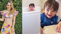 André, hijo de Sherlyn, hace travesuras y se rehusa a salir de su tina de baño