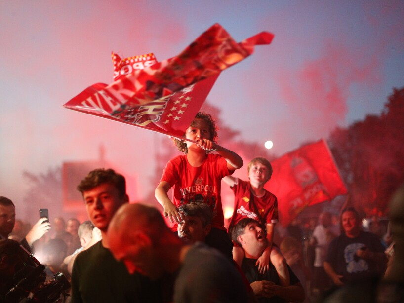 Liverpool Fans Outside Anfield As Title Rivals Manchester City Play Chelsea