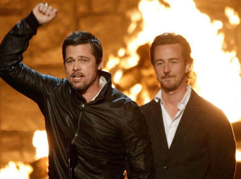 10. Brad Pitt y Edward Norton: Filmaron una escena de Fight Club completamente en estado de ebriedad.