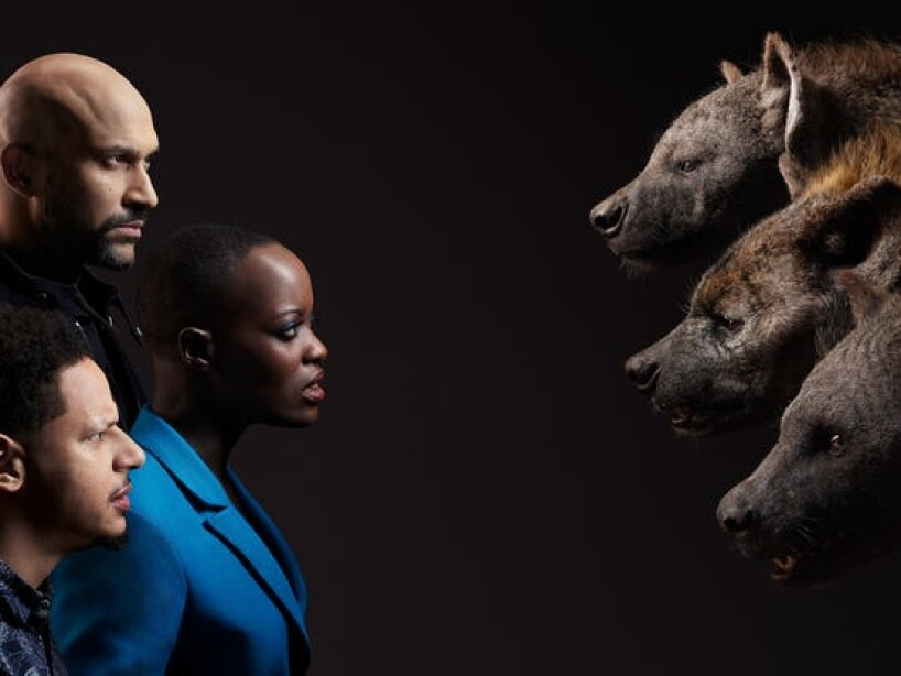 Florence Kasumba, Eric Andre, and Keegan-Michael Key.jpg