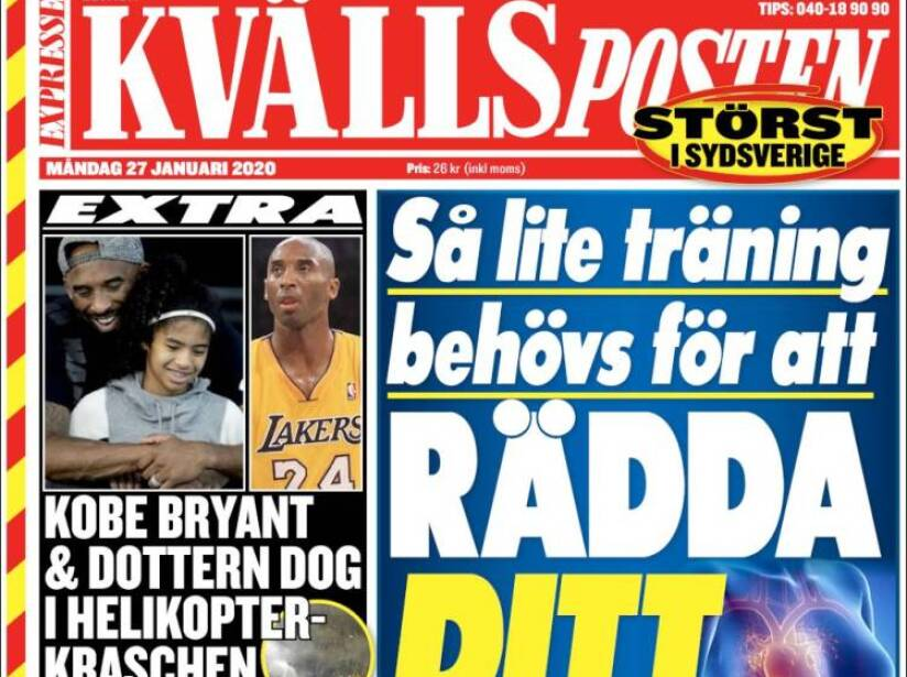 Kobe Bryant, periódico, KVALLS POSTEN.jpg