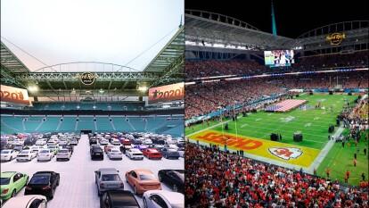 El Estadio de los Miami Dolphins se adapta a un autocine durante la pandemiaa.