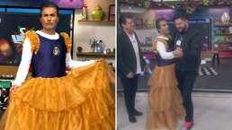 Raúl Araiza protagoniza romántico vals vestido de quinceañera con su chambelán Paul Stanley en Hoy