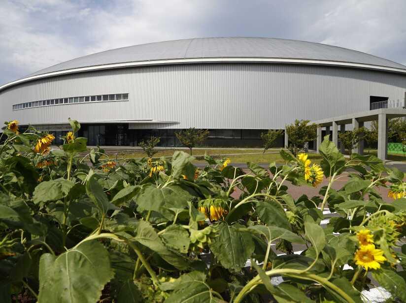 A general view shows Izu Velodrome for Tokyo 2020 Olympic games in Izu, Shizuoka prefecture