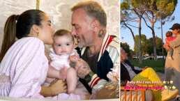 Mientras Gianluca Vacchi le canta a su bebita, Sharon baila con ella