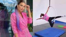 Paulina Goto sorprende en redes al mostrar que es toda una experta en danza aérea en aro