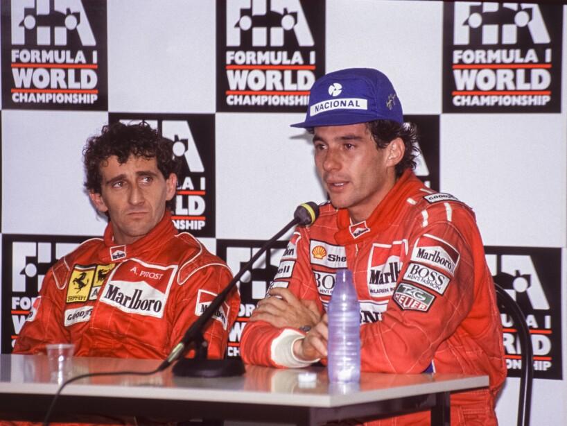 Alain Prost et Ayrton Senna au Grand Prix de Magny-Cours en 1991