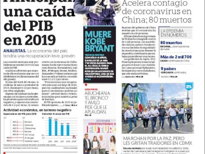 Kobe Bryant, periódico, EL FINANCIERO.jpg