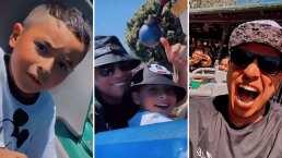 Eduin Caz se hizo el valiente para subirse a los juegos de Disneyland junto a su hijo
