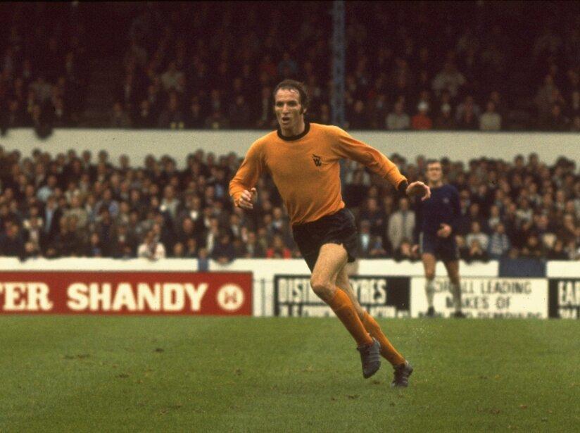 Derek Dougan of Wolverhampton Wanderers running up the pitch during a league match.