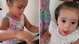 Así es como Reni, hija de Jacky Bracamontes, peina a su hermana Emi