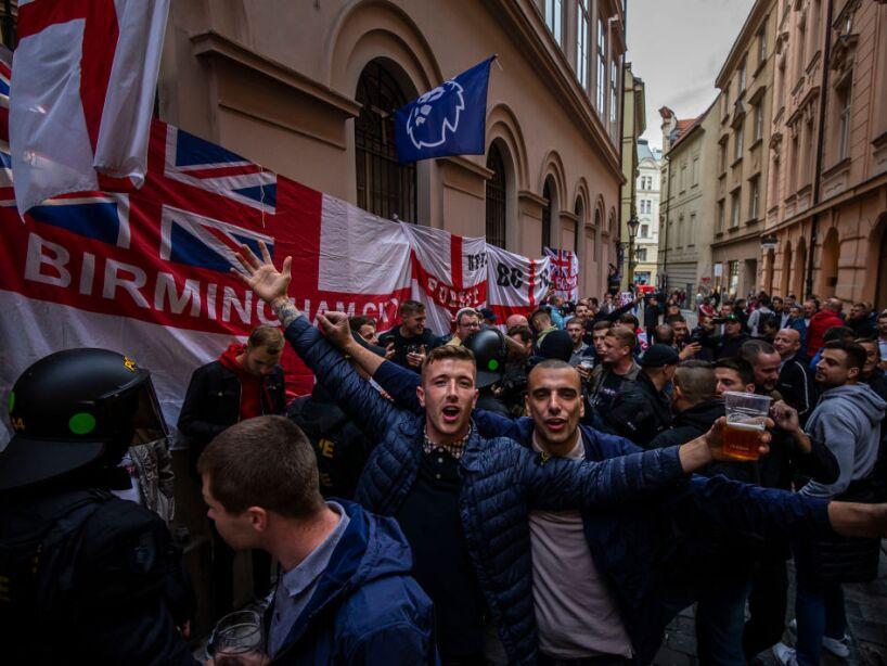 England Fans In Prague For Czech Republic vs England UEFA EURO Qualifiers Match