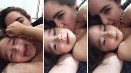 Ariadne Díaz se come a besos a su hijo Diego; él le pide que lo deje salir: 'Un puerquito delicioso'