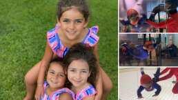 Hijas de Jacky Bracamontes sienten la adrenalina de practicar paracaidismo en un divertido simulador
